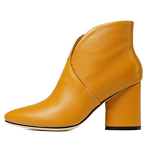 Heel Toe High Nine Pointed Seven Leather Women's Ankle Graceful Colorful Genuine Yellow Handmade Boots pUxqw0XqY