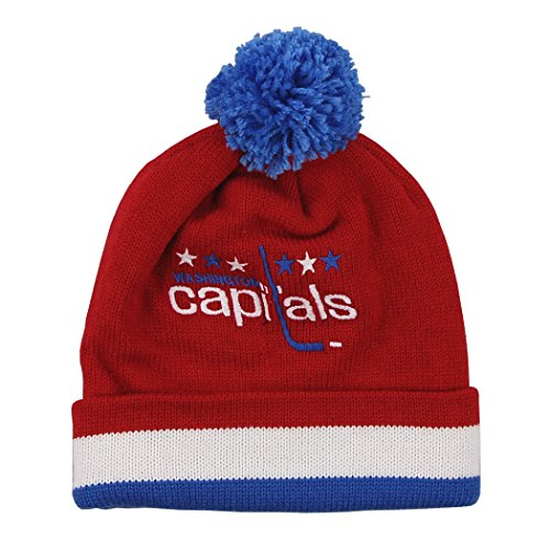 NHL Mitchell & Ness Washington Capitals Red Vintage Jersey Stripe Cuffed Knit Beanie