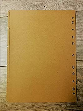6 Hole Kraft Paper Indexing Dividers for Binding Note Book (A5, Style B) Fairmer