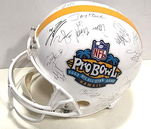 2003 Pro Bowl Afc Team Autographed Signed Helmet 25 Auto Peyton Manning Jerry Rice - Certified Authentic (Jerry Rice Signed Pro Helmet)