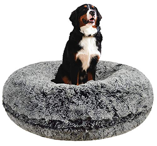 Bessie and Barnie Signature Midnight Frost Luxury Shag Extra Plush Faux Fur Bagel Pet/Dog Bed (Multiple Sizes), L - 42