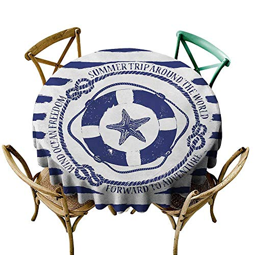 Wendell Joshua Purple Tablecloth 39 inch Starfish,Trip Around The World Nautical Emblem with Lifebuoy Starfish Striped Design,Navy Blue White Indoor/Outdoor Spillproof Table Cloth
