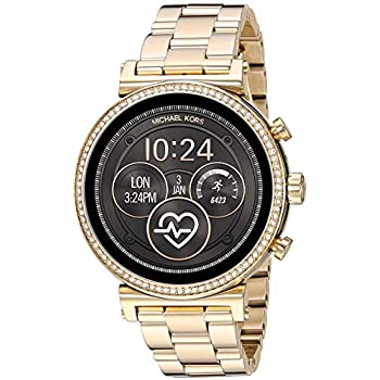 Michael Kors Access Womens Sofie Heart Rate Touch-Screen Smartwatch with Stainless-Steel Strap, Gold, 18 (Model: MKT5062)