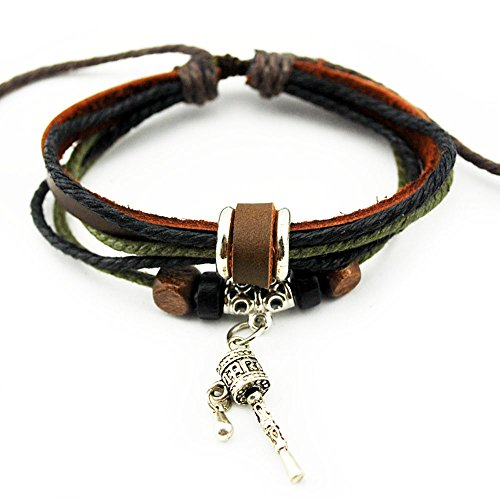 Real Spark Unisex Multicolor Cords Strands Leather Wristband Wood Beads Prayer Wheel Pendant Wrap Bracelet