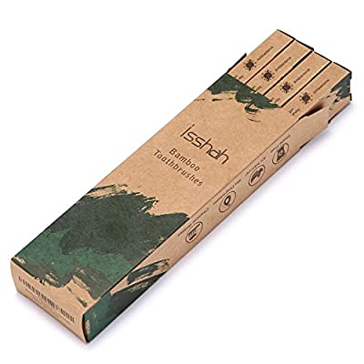 Isshah Biodegradable Organic Charcoal Infused BPA Free Bristles Natural Bamboo Toothbrush (Soft Bristles)
