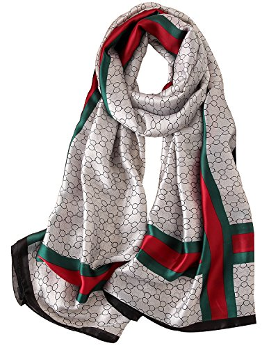 - NUWEERIR Womens 100% Mulberry Silk Scarf Long Satin Scarf Fashion Designer Scarf Lightweight Neck Wear