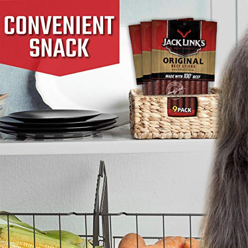 Jack Links Beef Snack Sticks, Original, 27 Count (Pack of 3, 7.2 oz. Bags) – Great Protein Meat Stick with 4g of Protein per Serving, Made with 100% Premium Beef