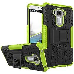 Asus Zenfone 3 Laser Shockproof Case, Asus Zenfone 3 Laser Hybrid Case, Dual Layer Protection Shockproof Hybrid Rugged Case Hard Shell Cover with Kickstand for Asus Zenfone 3 Laser ZC551KL (Green)