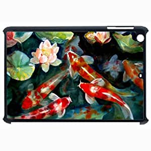 Customized Back Cover Case For iPad Air 5 Hardshell Case, Black Back Cover Design Koi Personalized Unique Case For iPad Air 5