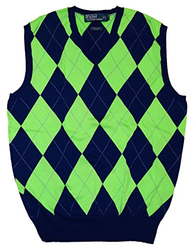 (Ralph Lauren Polo Mens V-Neck Sweater Vest Argyle Navy Blue Green Plaid Medium)