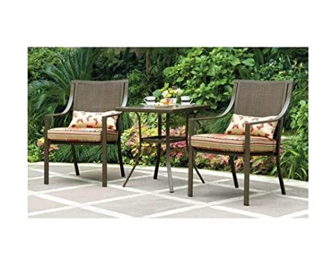 mainstays alexandra 3 piece bistro outdoor patio furniture set features red stripe cushions with butterflies - Garden Furniture 3 Piece