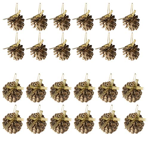 Juvale Mini Pine Cone Ornaments - 24-Pack Christmas Tree Pinecone Ornaments, Gold Glitter Rustic Design Decor with String, Small Winter Holiday Festive Hanging Decoration, 2.2-Inch Diameter