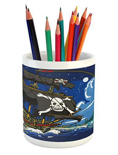 Lunarable Pirate Pencil Pen Holder, Caribbean Waters Adventure Time Volcano with Sea Storm Skull Island Jolly Roger, Printed Ceramic Pencil Pen Holder for Desk Office Accessory, Multicolor ()