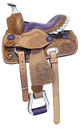 Manaal Enterprises Youth Child Premium Leather Barrel Racing Western Pony Miniature Horse Saddle Tack Size 10
