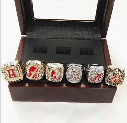 Alabama Crimson Tide championship rings 1992/2009/2011/2012/2015/2015 6 Series championship rings Replica Fans Souvenir, wooden box,Size:11 (6PCS+wooden box)