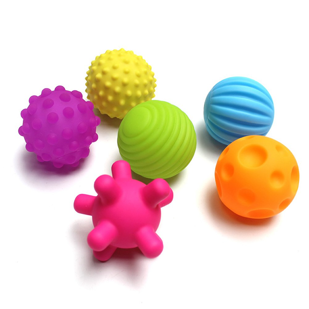 Super Durable 6 Pack Sensory Balls for baby and kids,Massage Soft & Textured Balls Set Develop Baby's Tactile Senses Toys for Infant Touch Hand Ball