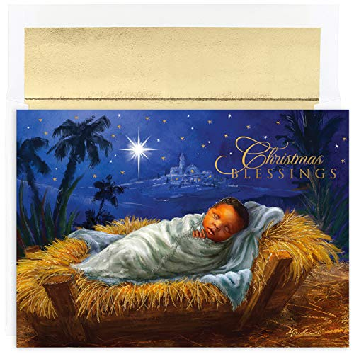 Search : Masterpiece Holiday Collection 18-Count Christmas Cards with Foil Lined Envelopes, Baby Jesus