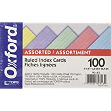 Oxford Ruled Index Cards, 3-Inch X 5-Inch, Assorted, 100/Pack