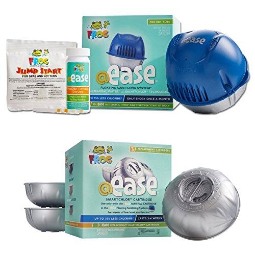 Pool Frog Ease Floating Sanitizing System & Ease Smart Chlor 3 Pack Refill Kit (Bundled with Pearsons Scumball Absorber)