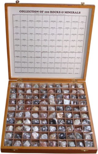 100 Rare Rocks & Minerals Collection Kit in Wooden Box Best Quality Original Item of Brand BEXCO DHL Expedited Shipping from BEXCO