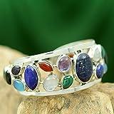 NOVICA-Multi-Gem-Cultured-Freshwater-Pearl-925-Sterling-Silver-Cuff-Bracelet-Colors-of-Life