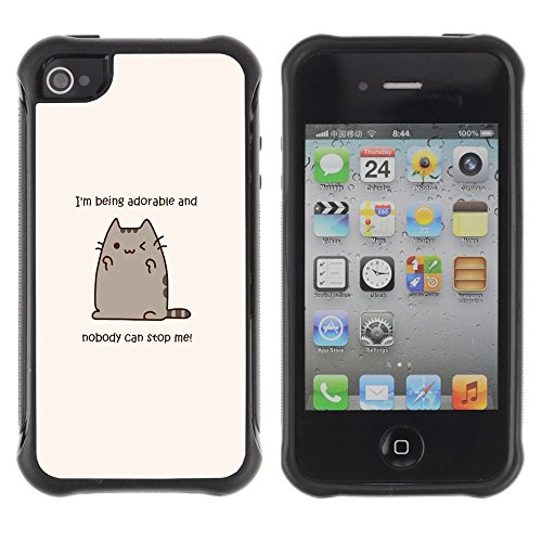 All-Round Hybrid Rubber Case Hard Cover Protective Accessory Compatible with Apple iPhone 4 & 4S - adorable cat cartoon character motivational