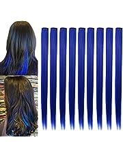 ZHIRXIN Gekleurde Haarextensies, Feest Hoogtepunten Kleurrijke Clip in Haarextensies 21 Inch Rechte Synthetische Haarstukken, Voor Dames Kinderen Meisjes Cadeau, Cosplay Mode Feest Aankleden