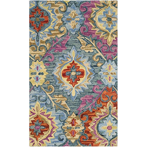 Safavieh Suzani Collection SZN376A Hand-Hooked Blue and Multi Wool Area Rug (3' x 5') ()