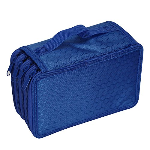 Oksale® 4 Layer Canvas Zipper Pencil Case Office Stationery School Sketch Pen Bag (Blue) (Makeup In The 80s)