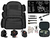 Range Warrior Large Padded Black Tactical Range Backpack - 2nd Ammendment Freedom TekMat & 22 Pc Cleaning Kit