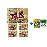Twix Cookie & Caramel Milk Chocolate Fun Size - 10.83 Oz (5 PACK)+ Fruity Chews Gum Watermelon 1/60 Count + Trident Go Cup Spearmint 1/60 Count (BUNDLE)