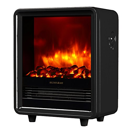 RICHFLAME Olivia 1500W Portable Electric Fireplace Heater Stove 12 inch, Black