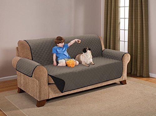 Protector De Mascotas Reversible Sofa 3 Puestos Negro/Cafe