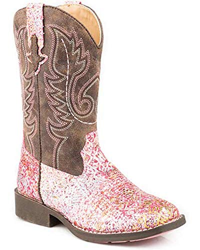 ROPER Girls' Glitter Aztec Western Boot Square Toe Pink 2 D