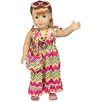 Includes Tie Dye Shirt, Jeans, Sandals, Vest and Purse Dress Along Dolly Doll Clothes for 18 Girl Dolls 5 Pc Tie Dye Outfit