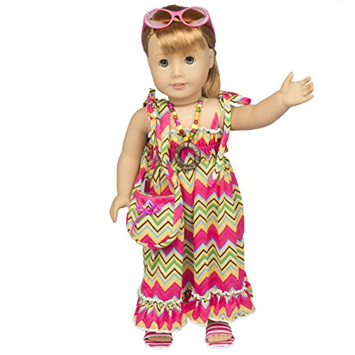 Beach Dress Outfit for American Girl Dolls (Doll Clothes Includes Maxi, Purse, Necklace, Sandals and Sunglasses)