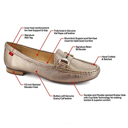 Frauen Echtes Leder Made In Brasilien Grand Street Schnalle Loafer Marc Joseph NY Mode Schuhe Goldkörnig