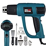 NEU MASTER N2030 LCD Display 1500W Heat Gun Kit with Variable Temperature Control 120°F-1200°F with Overload Protection Six Nozzle Attachments for Stripping Paint, Bending Pipes, Lighting BBQ