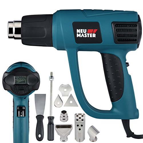 Heat Gun Variable Temperature, NEU MASTER 1500W 120°F-1200°F Automotive Hot Air Gun with LCD Display, Overload Protection, 6 Nozzles Attachments for Shrink Wrapping, Soldering, Paint Stripping N2030