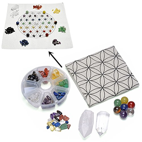 Top Plaza 7 Chakra Healing Crystal Grids Kit/Lot of 7 Chakra Round Beads, Assorted Chip Stones, Clear Quartz Crystal Wands Points Sticks, Flower of Life Sacred Geometry Crystal Grids Altar Cloth by Top Plaza