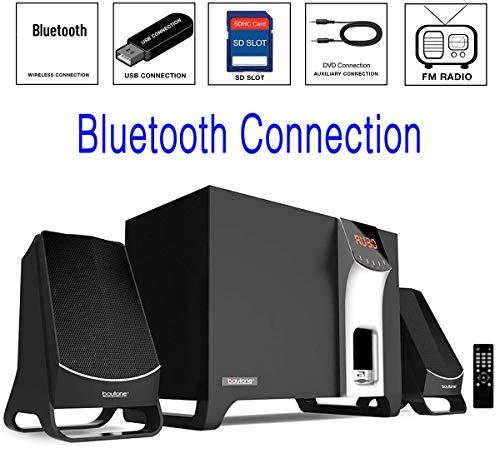 Boytone BT-3107F, Wireless Bluetooth 2.1 Multimedia Powerful Bass System with FM Radio, Remote Control Aux Port, USB/SD/MMC Audio for Phones , Tablets , Desktop Computers , -