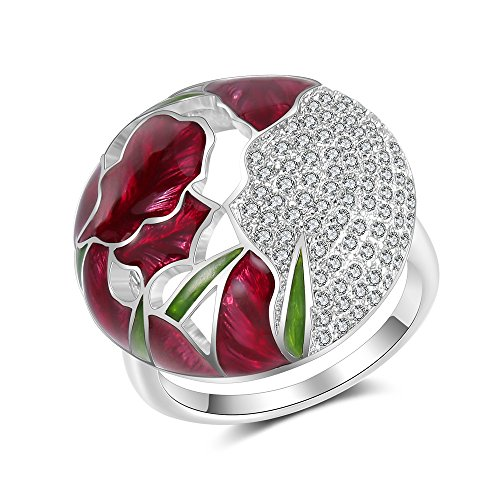 (Mytyts Enamel Blossom Ring for Women Cz Flower Cocktail Anniversary Rings Size 6 7 8 9 )