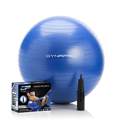 DYNAPRO Exercise Ball - 2,000 lbs Stability Ball - Professional Grade – Anti Burst Exercise Equipment for Home, Balance, Gym, Core Strength, Yoga, Fitness, Desk Chairs (Blue, 55 Centimeters) by DYNAPRO (Image #1)