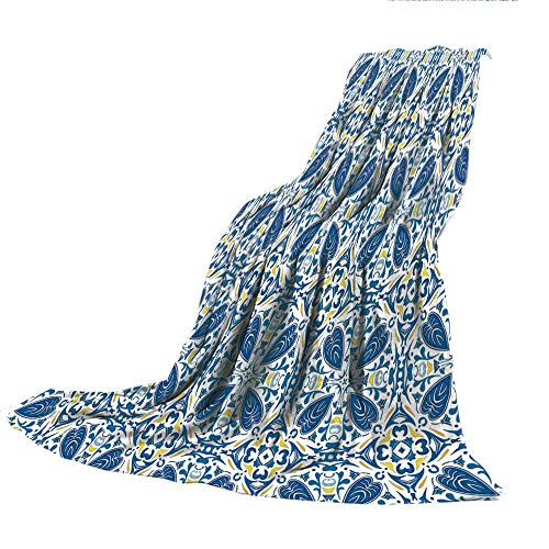 - SCOCICI Super Thick Flannel Double-Sided Printing Blanket,Yellow and Blue,Portuguese Traditional Tiles Abstract Mosaic Floral Swirl Motifs Decorative,Blue Orange Yellow,31.50