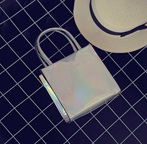 Bolsos Bandolera Holográfico de Mujer, Holacha Crossbody Bolsas de Hombro Cuadrado Solido Moda plata