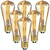 LONGYEE( TM ) 6 x Edison Style Vintage Light Bulb E27/E26 Screw Base ES 40W 110V ST64 - Squirrel Cage Shape