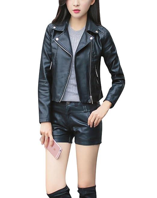 Vendimia Chaqueta De Cuero Corta De PU Imitación De Cuero Mujer Biker Jacket: Amazon.es: Ropa y accesorios