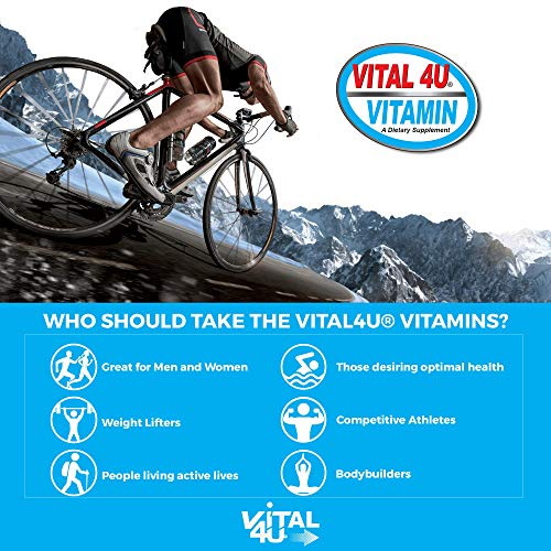 Vital 4U® Vitamin Premium Multivitamin for Men and Women, Immune Support, Multimineral Sports Nutrition Supplement with Joint Support, 30 Count