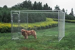 ALEKO® Dog Kennel 10' x 10' x 6' DIY Box Kennel Chain Link Dog Pet System Run for Chicken Coop Hens House