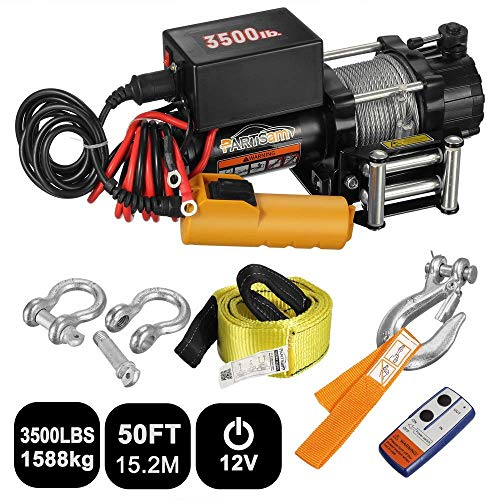 Plated Steel Cams - Partsam 3500 Lbs Electric Winch Kits 12V Professional Set - Remote Control Power System, Zinc-Plated Steel Wire with Wireless Handheld Remote and Corded Control